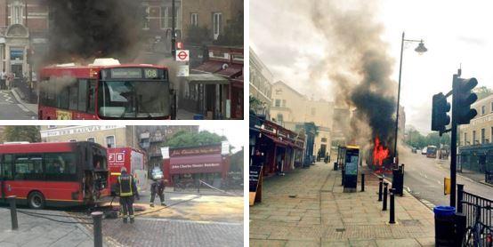 فيديو | حافلة نقل في لندن تنفجر وتحترق في طريق مزدحم بالسيارات