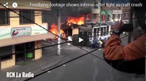 فيديو | سقوط طائرة على مخبز الحي السكني في كولومبيا