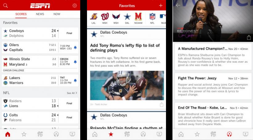 مشاهدة البث المباشر للمباريات على تطبيق ESPN في iOS